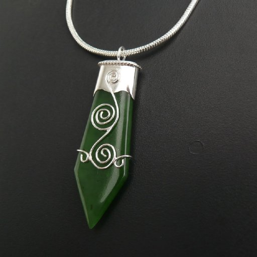 Greenstone and silver pendant by Graham